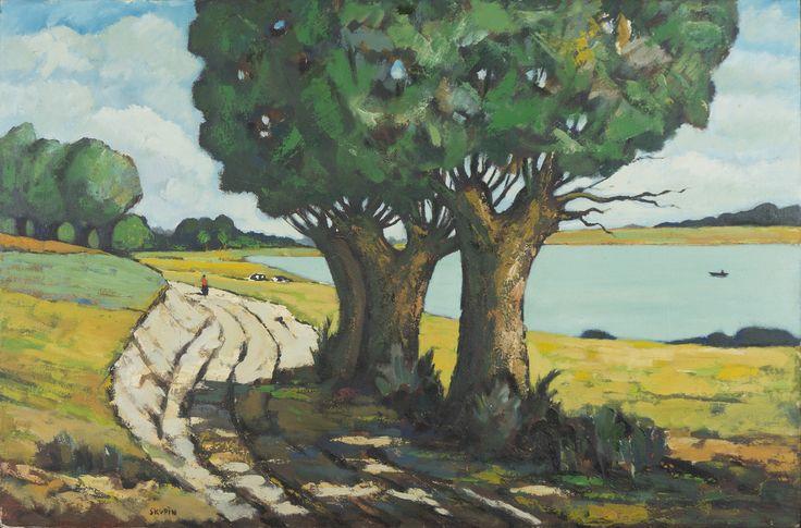"""""""Lednogóra"""" – obraz Ryszarda Skupina z pleneru malarskiego Lednogóra'78. Dający ulgę oku kadr znad jeziora Lednica w słoneczny letni dzień. Widać tu też ślady """"nerwu"""" malarza: farby są nałożone grubo pędzlem i szpachelką w centralnej partii obrazu, gdzie wierzby rzucające cień na żłobioną koleinami drogę. Postać w czerwonej bluzce, na tafli jeziora ktoś w łódce – nic nie zakłóca spokoju."""