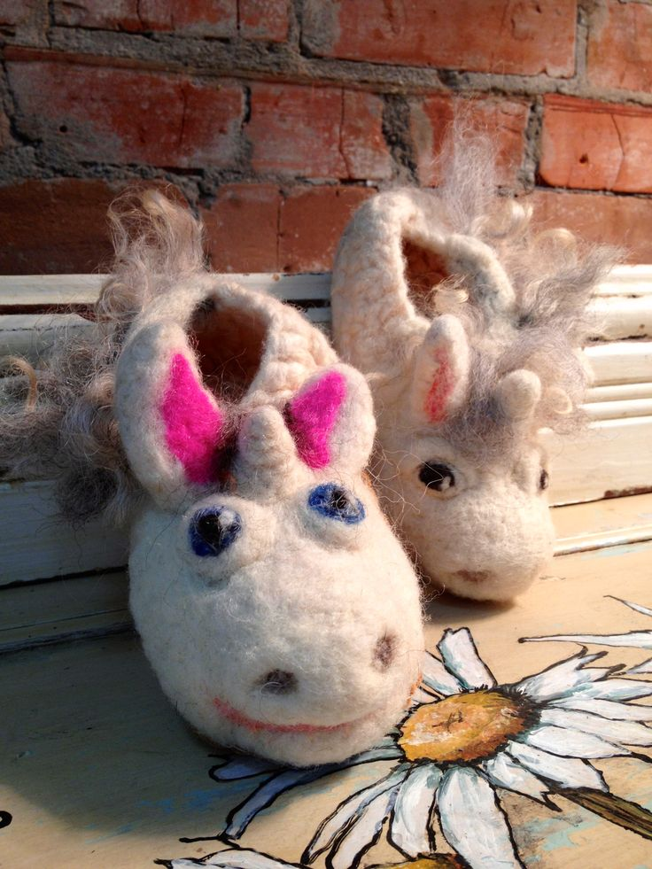 Hand knitted and felted children's slippers!