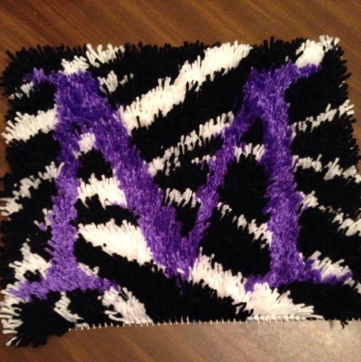 m purple zebra print latch hook