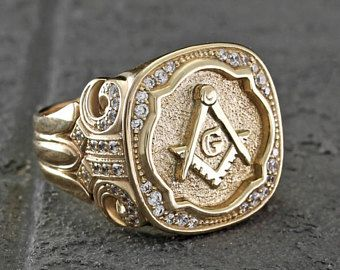 14k Yellow Gold Masonic Signet Ring Mens Masonic Unique Ring Antique Style Ring Wide Signet Ring Freemason Ring U Rings For Men Masonic Ring Masonic Gifts