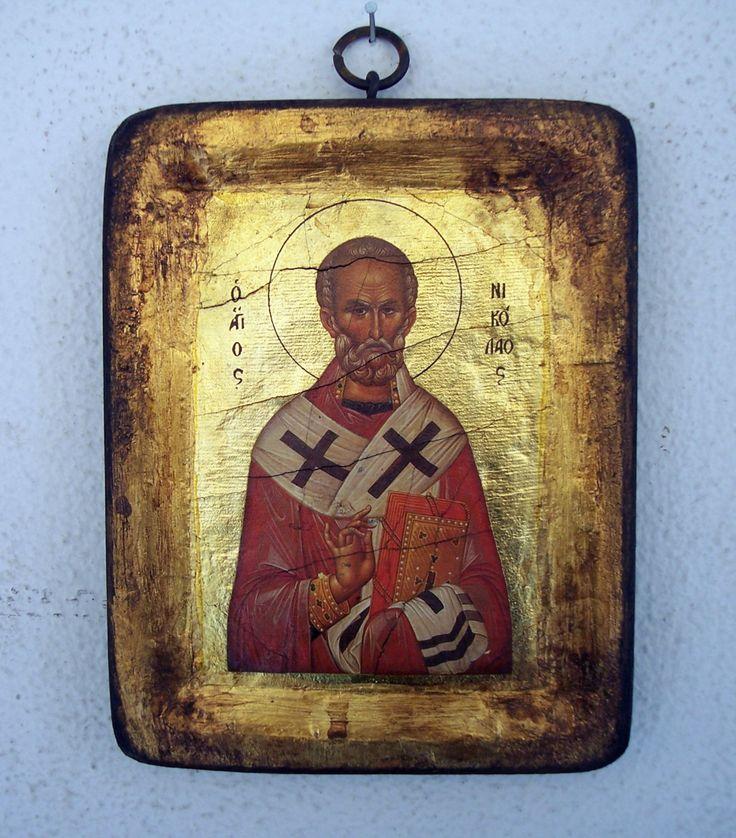 Orthodox greek religious icon with mount Athos style, vintage and byzantine style with Saint Nikolaos by GardenOfLinda on Etsy