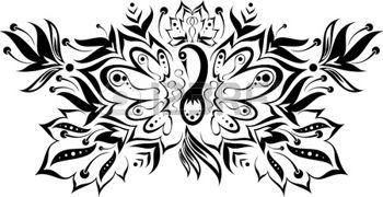 черно-белый узор с волшебной птицей и цветами photo
