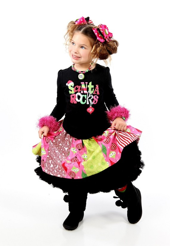 Santa Rocks Twirl Skirt & Applique Tee Set
