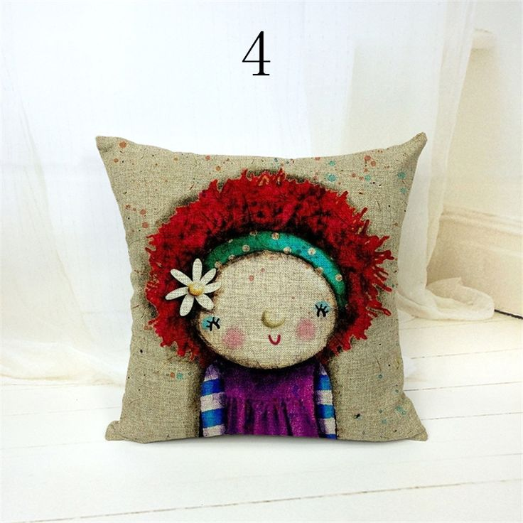 Cute cartoon cotton linen blend throw pillow home decorative cheap cushion covers 45 * 45cm kussenhoes ikea
