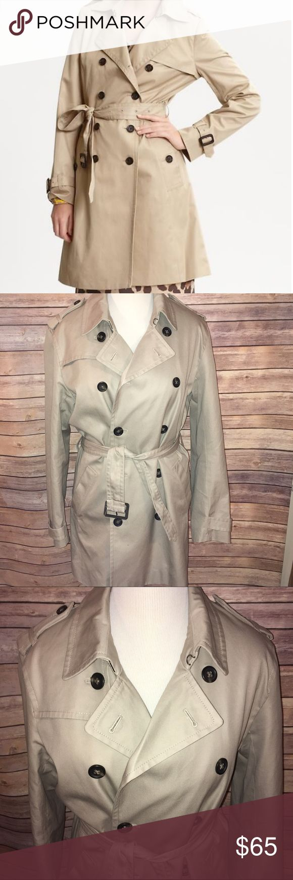 Banana Republic Khaki Classic Trench Coat Simply classic, beautifully tailored neutral beige/khaki trench coat. Double breasted design with buckle accent belt and cuffs. Fully lined. Knee length. Retails for $198. Perfect condition, no flaws at all, only worn once or twice. Check out my other listings to bundle and save 25% 😎! Banana Republic Jackets & Coats Trench Coats