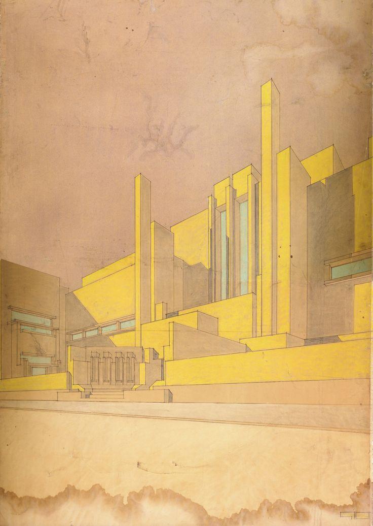 Bernard Bijvoet and Johannes Duiker, ontwerp voor de Rijksacademie voor Beeldende Kunsten, Amsterdam, 1917-1918.