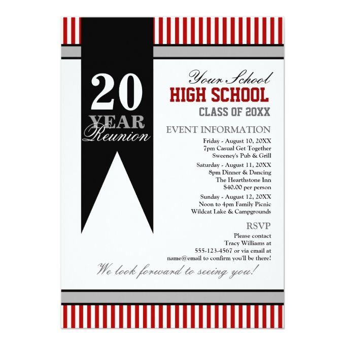 The 1494 best reunion party invitations images on pinterest party high school class reunion 5x7 paper invitation card stopboris Gallery