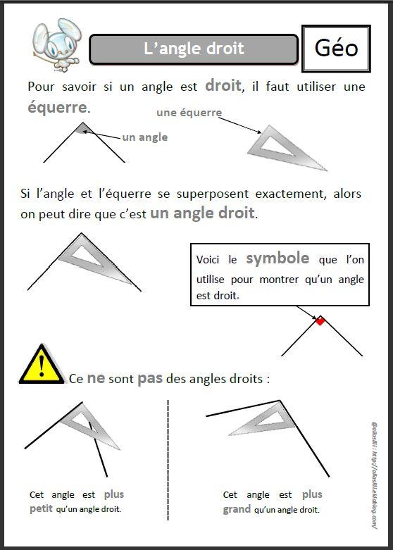 l'angle droit | Géométrie ce1, Angle droit, Géométrie cm2