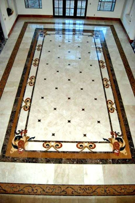 Tile medallion on marble ground: custom medallions
