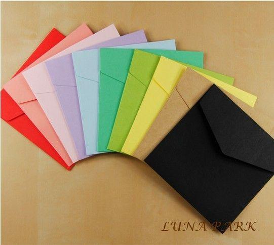 Multicolor 12 cores size10x10cm pequeno cor de papel kraft envelopes do casamento sobres / 120 pçs/set(China (Mainland))
