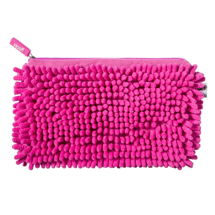 Magnetic Fuzzy Pocket Pencil Case - Pink