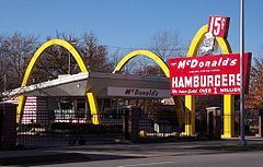 "Richard James ""Dick"" McDonald (February 16, 1909 – July 14, 1998) and his brother, Maurice James ""Mac"" McDonald (November 26, 1902 – December 11, 1971) were early American fast food pioneers, who established the first McDonald's restaurant at 1938 North E Street and West 14th Street in San Bernardino, California. They introduced the ""Speedee Service System"" in 1948, and notice the price on the sign... 15 cents..."