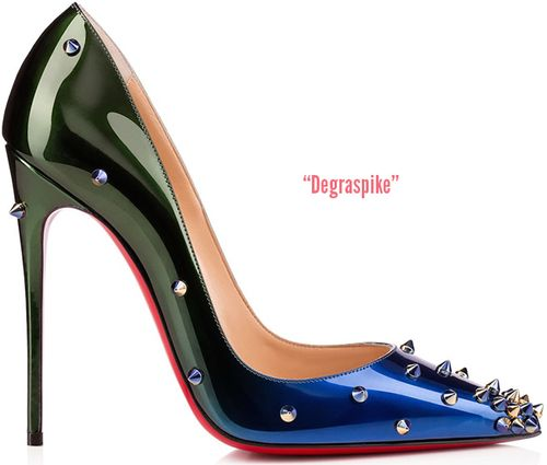 Degraspike  120mm pump in apatent ocean & amazon dégradé-effect; available  Saks Fifth Avenue  and  Christian Louboutin
