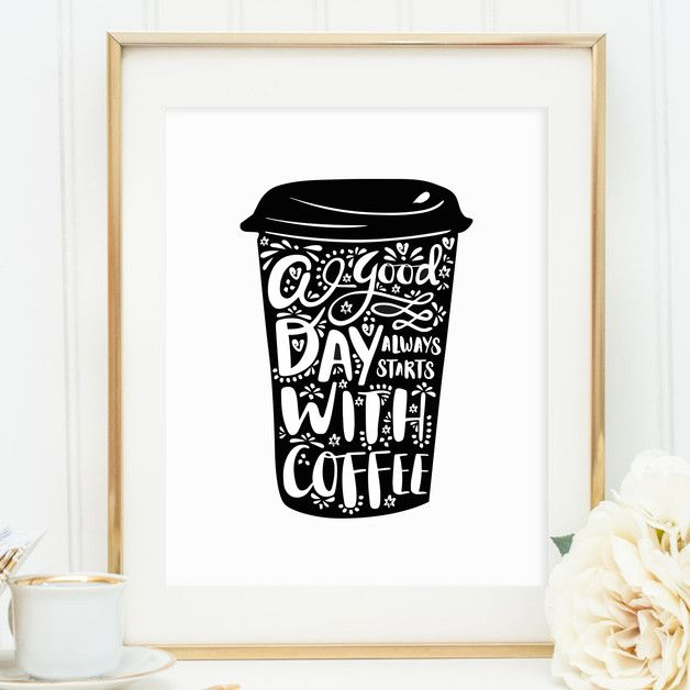 Kunstdruck mit Spruch für Kaffee Liebhaber / artprint with black white illustration, coffee lover made by Tales by Jen via DaWanda.com