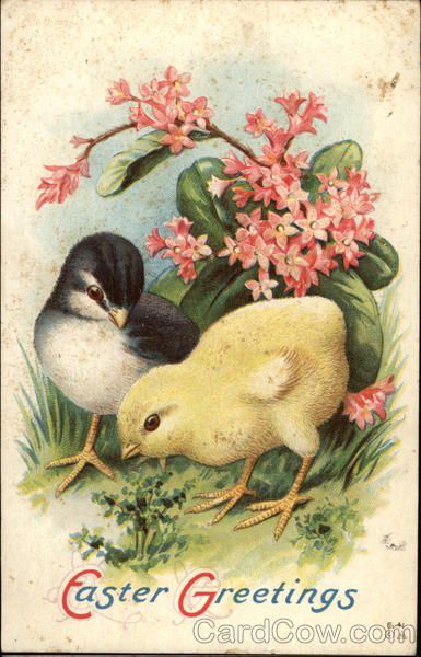 Easter Greetings with Chicks & Flowers