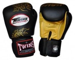 TWINS BOXING GLOVES BLACK GOLD DRAGON