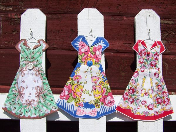 Dresses Made From Hankies Using Origami Technique
