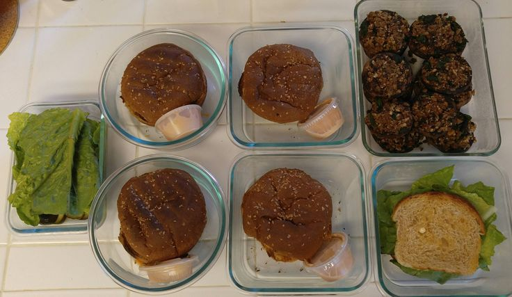 Vegan Meal Prep: Boca burgers for lunch stuffed mushrooms for dinner (recipes in comments) #mealprepping #OneSimpleChange #mealprep #healthy #mealplanning #healthyliving #food #weightloss #sunday