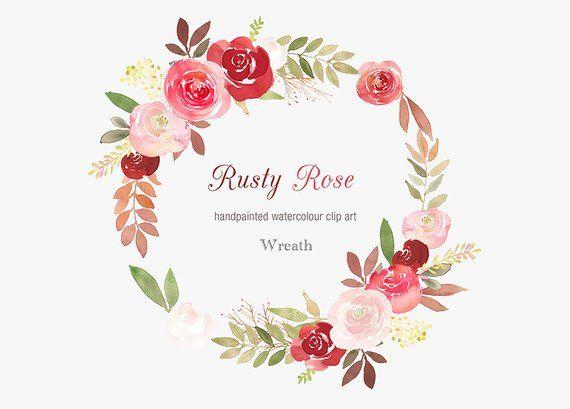 Watercolour Floral Wreath Clip Art Rusty Rose Wedding Wreath