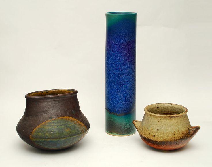 "Annikki Hovisaari for Arabia Unique stoneware vase with matte glaze in blue, turquoise and brown, c. 1960s. Incised ""ARABIA AH"" Height 14"" (36cm) Width 3 1/2"" (9cm)"