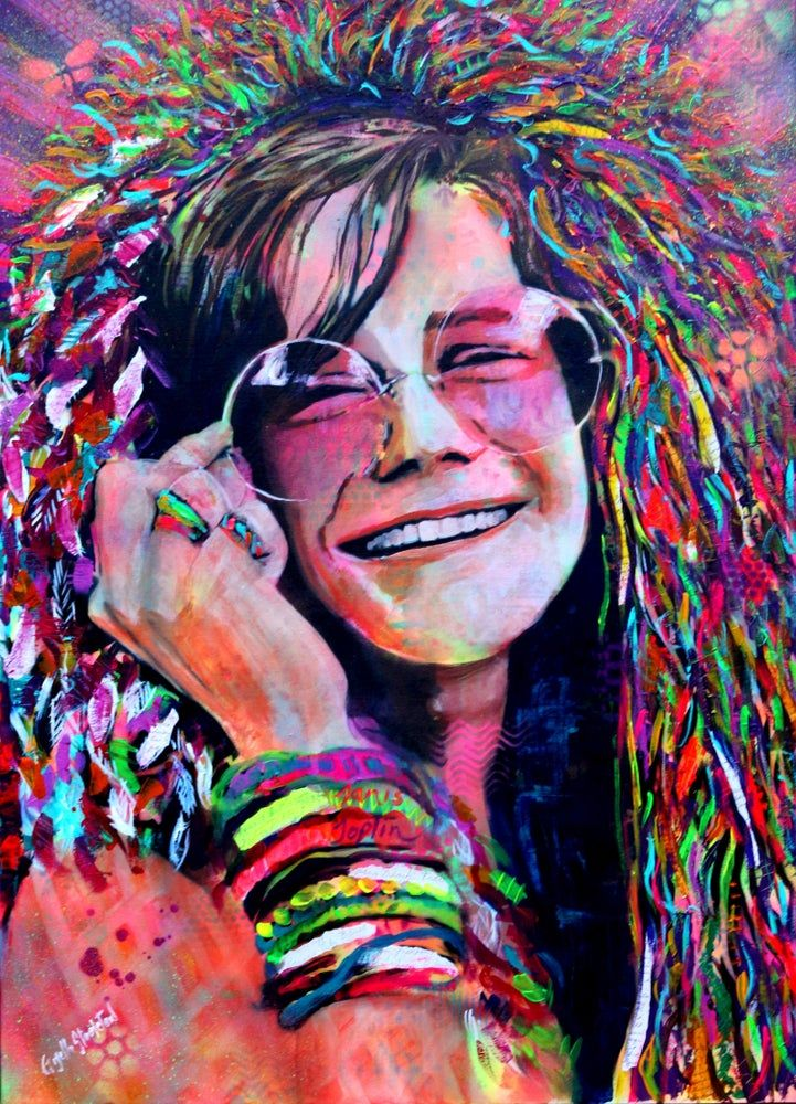 Janis Joplin Gisella Stapleton Prints Carteles De Rock Dibujos Tribales Rostros De Arte