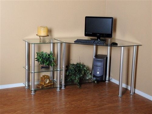 "This solid, tempered glass workstation and its sturdy aluminum base almost disappear into your decor. It comes with a bonus, 20-inch extension work table. Its dimensions are 58"" W X 38.5"" D X 30"" H."