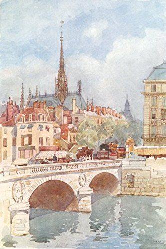 PARIS. Pont St. Michel and Ste. Chapelle. Traffic on bridge - 1907 - old print - antique print - vintage print - Paris art prints