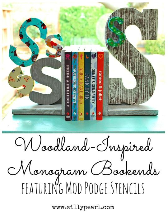 Woodland-Inspired Monogram Bookends Featuring Mod Podge Stencils - The Silly Pearl
