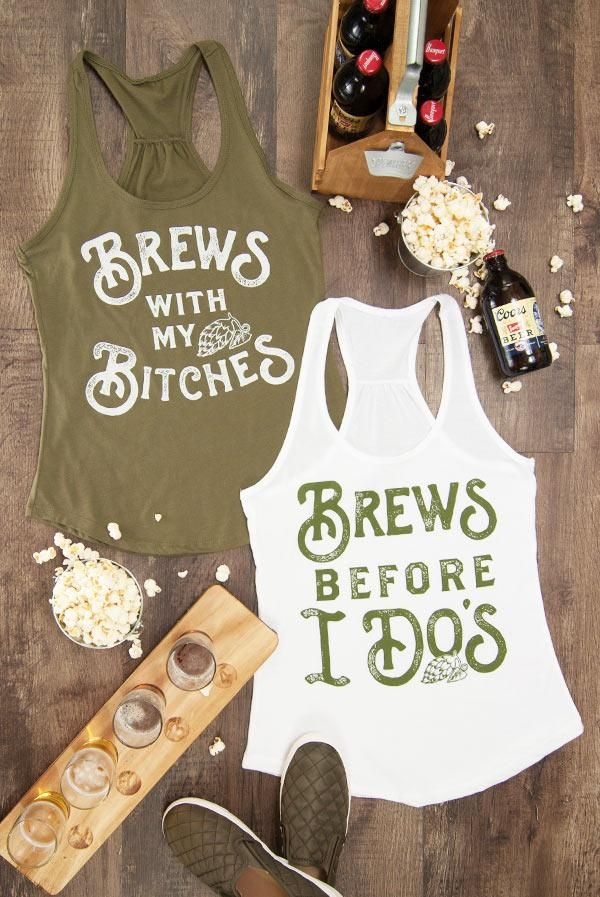 Bar Hoppin' Bachelorette Party Shirts - Brews Before I Do's | Brews with my Bitches