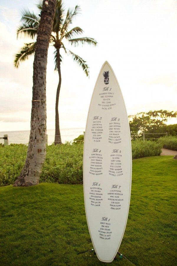 Surf board wedding seating chart  | Anna Kim Photography