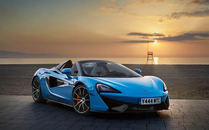 Download wallpapers McLaren 570S Spider, 2018, blue cabriolet, supercar, sunset, racing cars, McLaren