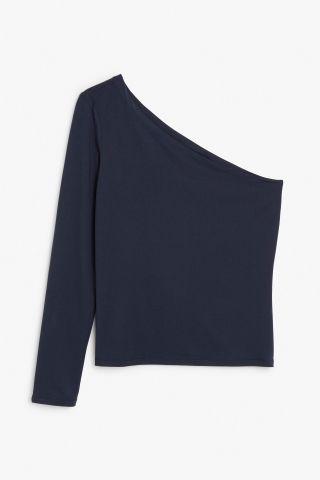 Monki Off the shoulder top in Blue Reddish Dark
