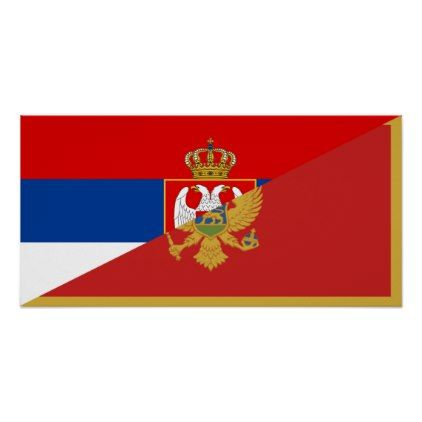 serbia montenegro flag country half symbol poster - country gifts style diy gift ideas