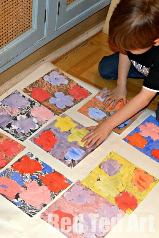 """Andy Warhol for Kids by Red Ted Art. Hosting the Kids' Get Arty Series {template included} - this would make a great group project with each child painting one or two panels and then combining it as a whole - similarly to Warhol's """"Flower Factory""""."""