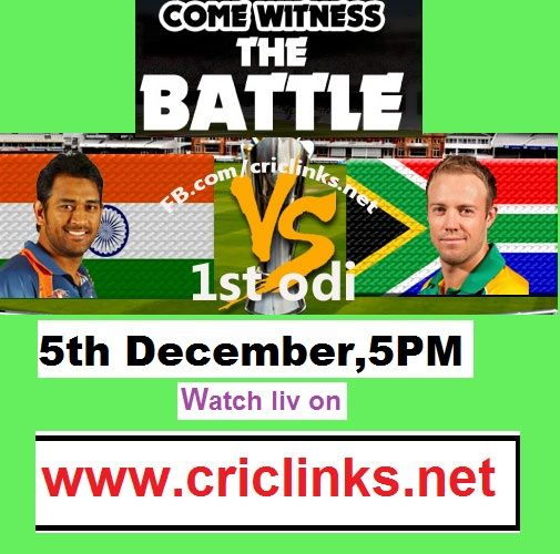 1st ODI between India vs south Africa will be played 5th December ,Thursday.MS Dhoni reckoned that board politics and the shortened South Africa tour will not lead to any tension on the field but India will face some heat and are likely to be welcomed by a hostile crowd at the New Wanderers Stadium in Johannesburg when they take on the hosts in the first of the three One-Dayers.watch thrilling action only on http://www.criclinks.net/