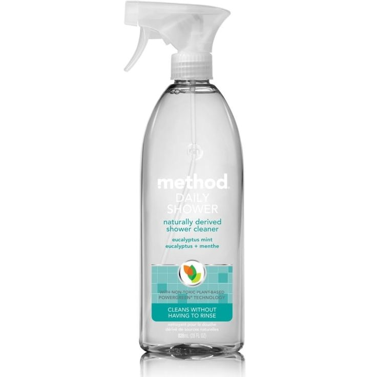 Best invention ever? Possibly.Get it from Amazon for $3.99.Promising review: Just spray and leave. My husband and I mist the shower after every use, even on the glass shower doors. No more scrubbing. This product helps keep the hard water stains, bacteria, and mold away naturally. I love it!' —Amazon Customer