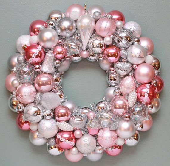 Hey, I found this really awesome Etsy listing at https://www.etsy.com/listing/168938102/pink-christmas-ornament-wreath