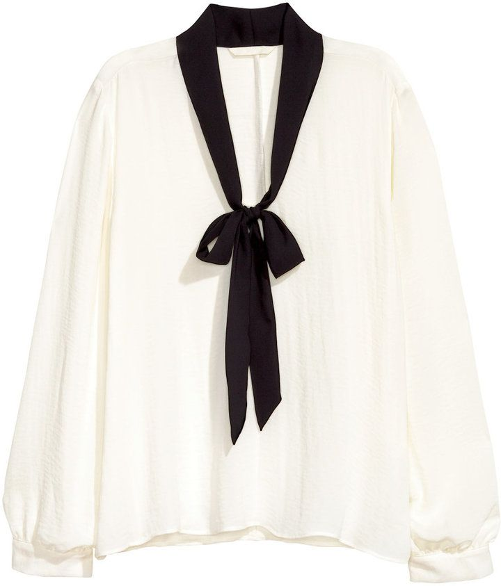 H&M - Blouse with Tie - White/black - Ladies