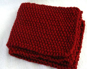 Hand knitted Cranberry scarf
