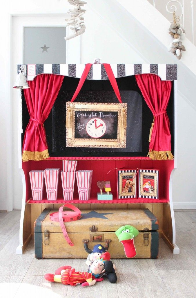 Welcome to the Starlight Puppet Theatre! An adorable adaptation of a desk hutch shelving unit into a fabulously fun playtime delight...