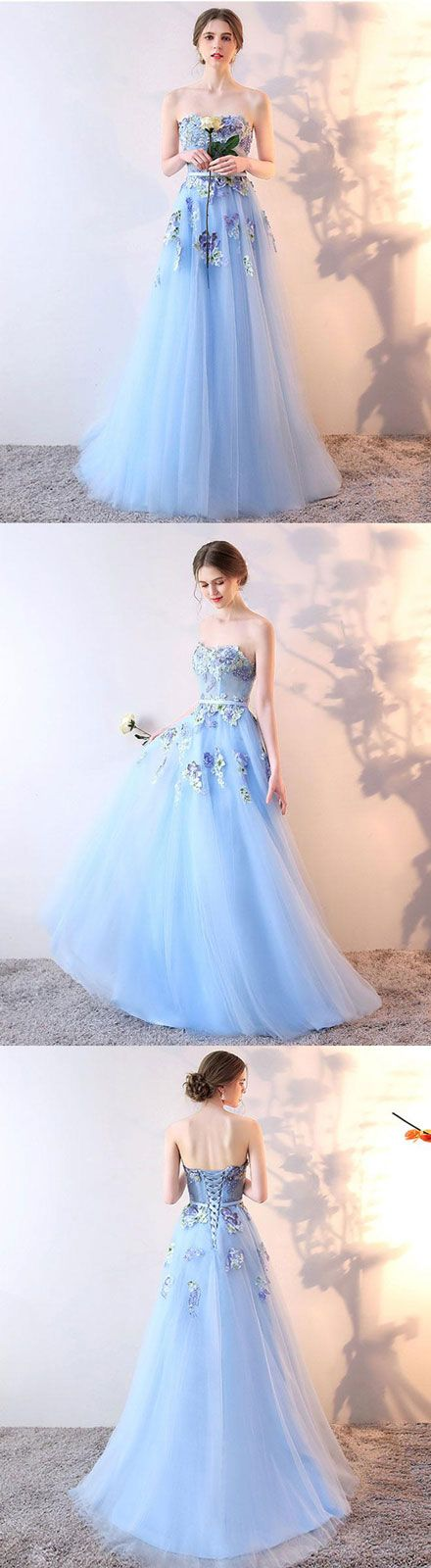 Stylish tulle lace long prom dress, lace evening dress, blue bridesmaid dress