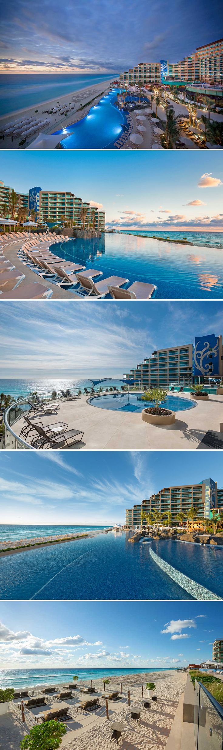 The Hard Rock Cancun Hotel is an all inclusive beachfront resort along the Cancun Hotel Zone. The 601-room resort offers guests a wide variety of suites, restaurants, and bars.