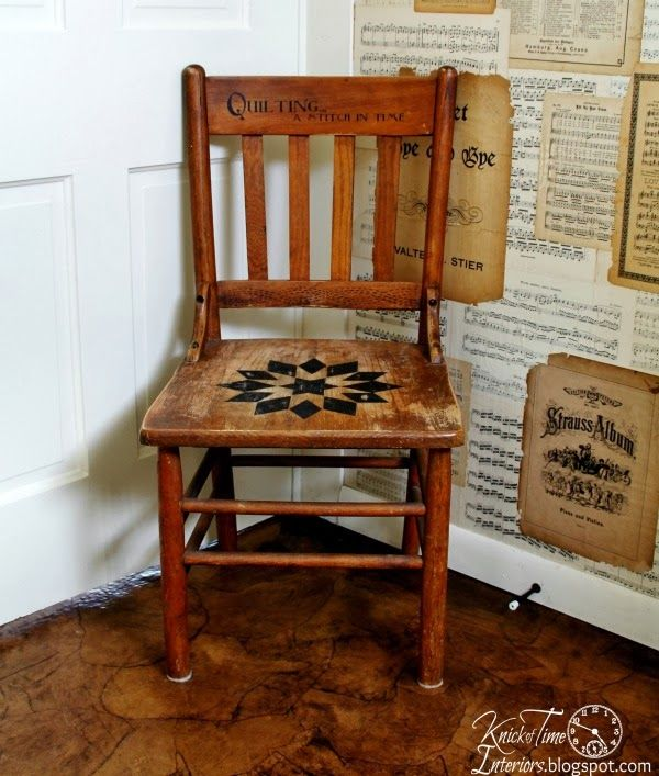 A Quilt Inspired Wooden Chair and a Childhood Story ~~~at http://knickoftimeinteriors.blogspot.com/