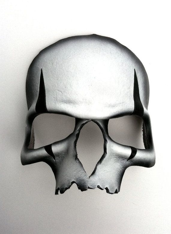high quality leather, hand painted, skull mask
