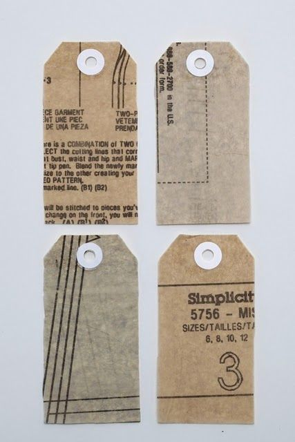 Labels or tags made from pattern paper. I love the idea for the sewing room!