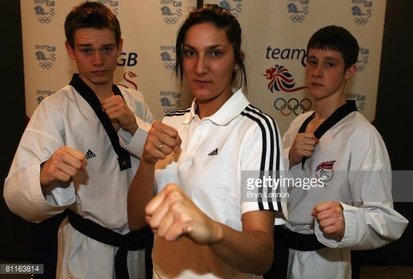 British Taekwondo athletes Aaron Cook Sarah Stevenson and Michael Harvey pose for a photograph during a press conference to announce the TEAM GB...