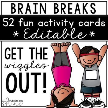 """Brain Breaks: I have been doing brain breaks in my classroom for years and they are so helpful! My students often ask me """"Miss Valerie, can we please have a brain break?""""They take only a couple of minutes and students get right back to work once we're done!"""