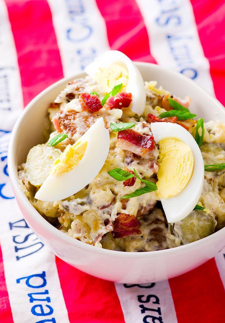 baked potato salad with egg and bakon .selective focus