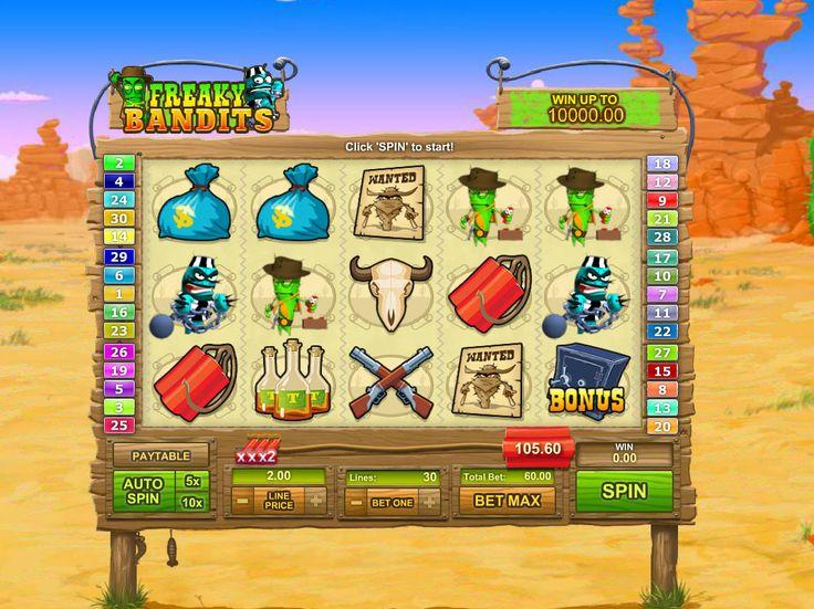 Drehe kostenlos Spielautomat Freaky Bandits - http://freeslots77.com/de/freaky-bandits/
