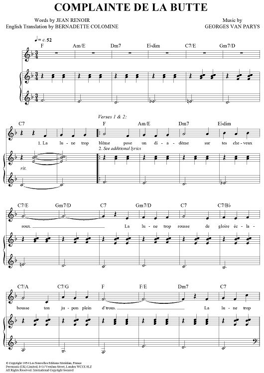 """Complainte de la Butte"" performed by Rufus Wainwright in Moulin Rouge. Link to buy sheet music. The words aren't brilliant, but this song needs to feature somewhere in my wedding. Very special to me."